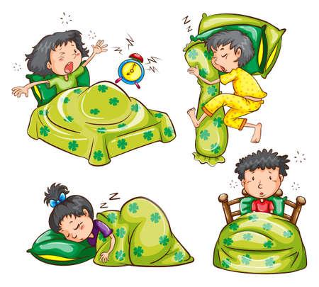 get up: Illustrazione di ragazzi e ragazze a letto