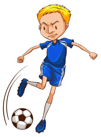 contestant: Illustration of a soccer player wearing a blue uniform on a white background