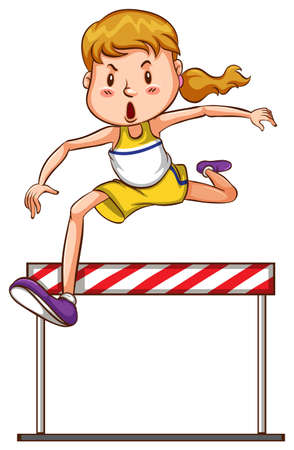 track and field: Illustration of a simple sketch of a girl joining a triathlon competition on a white background