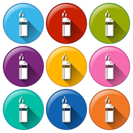ljusare: Illustration av olika färger ljusare ikoner