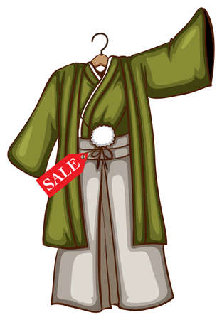discounted: Illustration of a sketch of a simple discounted dress from Asia on a white background
