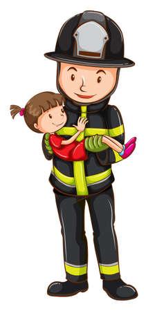 Illustration of a fireman rescuing a girl Illustration