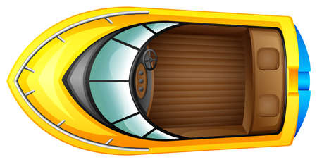 fueled: Illustration of a topview of a boat on a white background