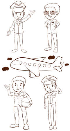 Illustration of the plain sketches of the pilots on a white background