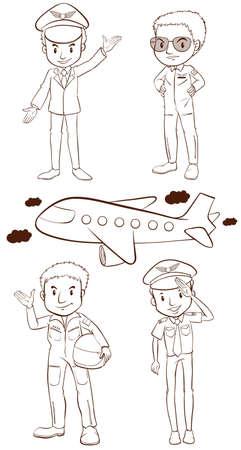 piloto de avion: Ilustración de los bocetos simples de los pilotos sobre un fondo blanco