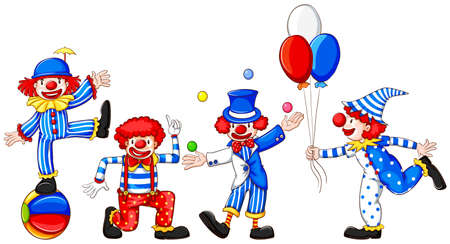 Illustration of a sketch of a group of clowns on a white background Vector