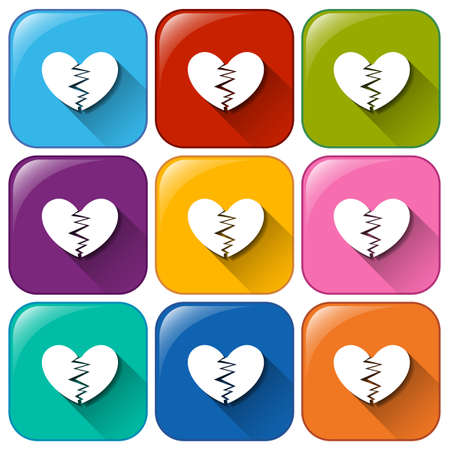broken down: Illustration of the icons with broken hearts on a white background
