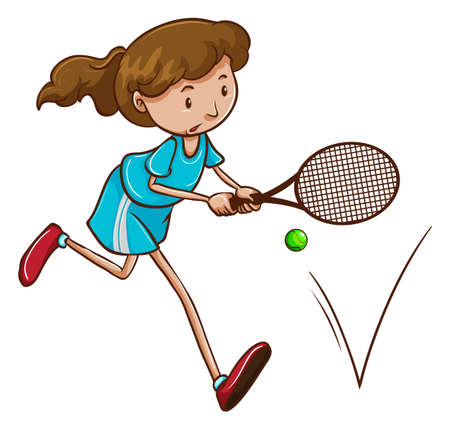 rehearsal: Illustration of a girl playing tennis on a white background