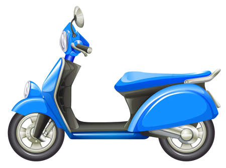 motorised: Illustration of a blue scooter on a white background Illustration