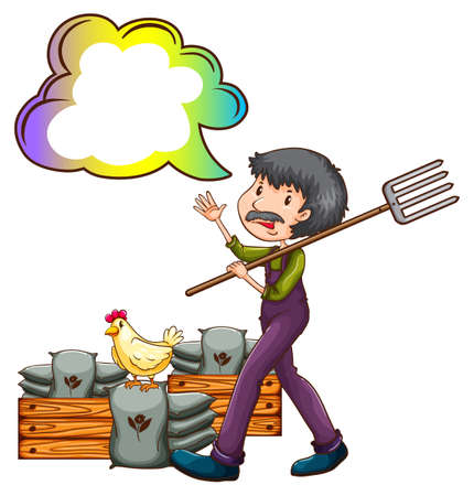 fertilizers: Illustration of a farmer with an empty cloud callout on a white background