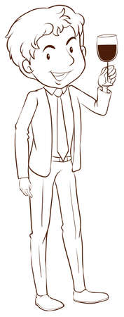 formal party: Illustration of a plain sketch of a man wearing a formal dress on a white background