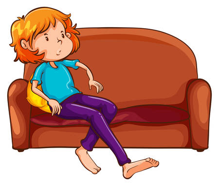 Illustration of a woman resting at the sofa on a white background