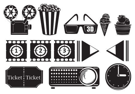 Illustration of the foods and things for a movie marathon on a white background Vector
