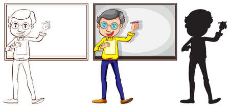 Illustration of the sketch of a teacher in three different colors on a white background