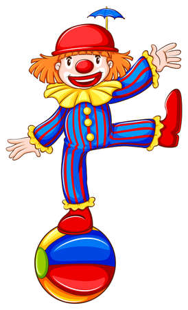 Illustration of a coloured sketch of a happy clown on a white background Vector
