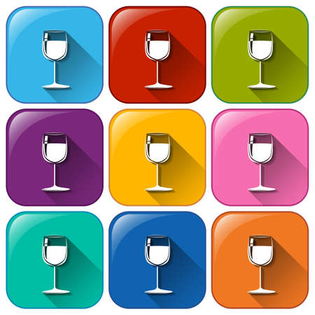 distilled: Illustration of the icons with wineglasses on a white background Illustration