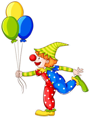 colored balloons: Illustration of a coloured drawing of a clown on a white background