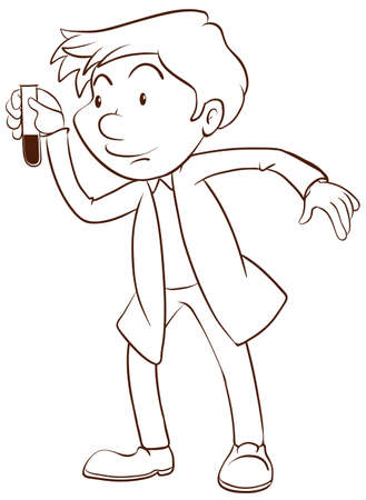 assays: Illustration of a plain sketch of a scientist on a white background Illustration