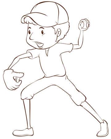 예행 연습: 흰색 배경에 야구 선수의 일반 스케치 그림 일러스트