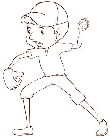 contestant: Illustration of a plain sketch of a baseball player on a white background