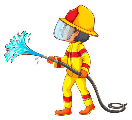 Illustration of a drawing of a fireman on a white background
