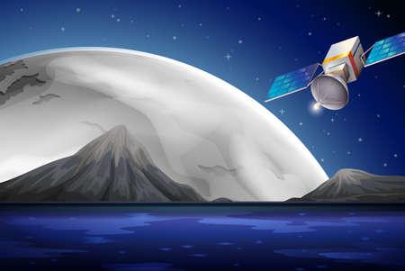artificial satellite: Illustration of a satellite near the ocean