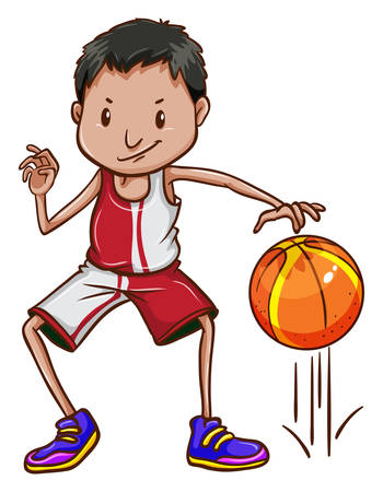 contingent: Illustration of an energetic basketball player on a white background Illustration