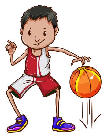 예행 연습: Illustration of an energetic basketball player on a white background 일러스트