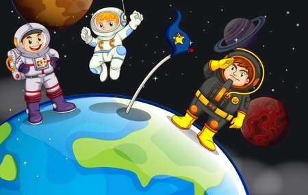 outerspace: Ilustraci�n de un grupo de astronautas en el espacio exterior Vectores