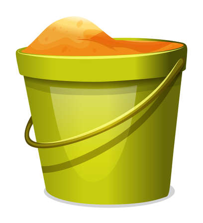storage device: Illustration of a pail with sand on a white background
