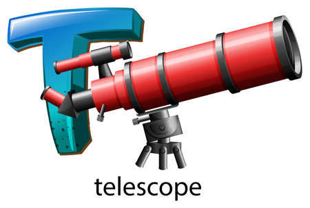 t background: Illustration of a letter T for telescope on a white background