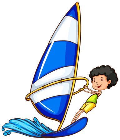 wavelengths: Illustration of a young boy enjoying the watersport activity on a white background