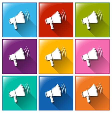 Illustration of the icons with megaphones on a white background Vector