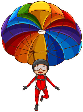 a teen girl: Illustration of a simple sketch of a girl with a parachute on a white background Illustration