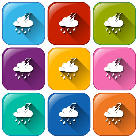 forecasts: Illustration of the rounded buttons with the different weather forecasts on a white background