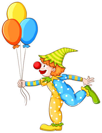 Illustration of a sketch of a clown holding three balloons on a white background Vector