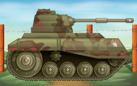Illustration of an armoured tank at the battlefield Vector