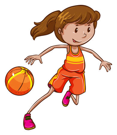 dribble: Illustration of a female basketball player on a white background Illustration