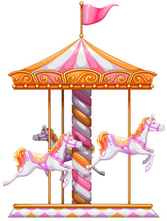 Illustration of a colourful merry-go-round on a white background Zdjęcie Seryjne - 32887778