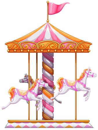 Ilustración de una merry-go-round de colores sobre un fondo blanco