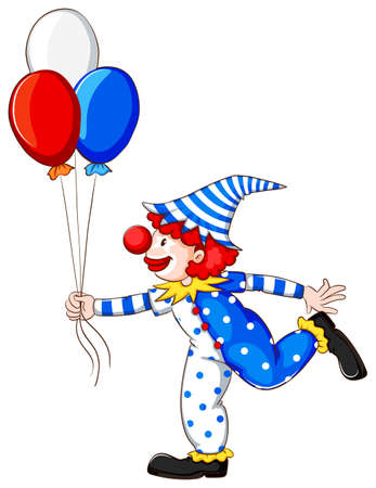 Illustration of a coloured drawing of a clown on a white background Vector