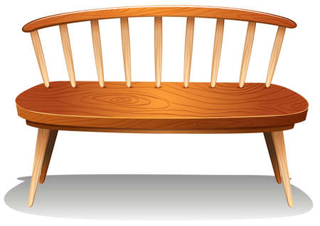 Illustration of a wooden chair furniture on a white background