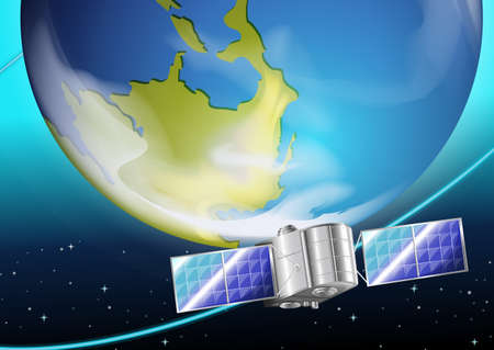 intentionally: Illustration of a satellite near the planet