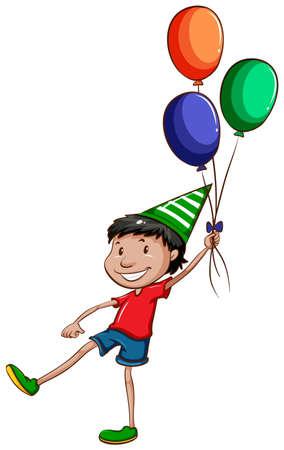 jeunes joyeux: Illustration d'un simple dessin d'un jeune gar�on heureux avec des ballons sur un fond blanc