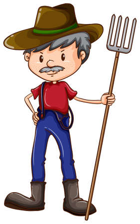 Illustration of a sketch of a farmer on a white background Vector