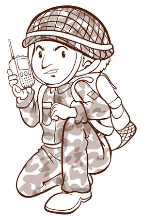 Illustration of a plain sketch of a soldier on a white background
