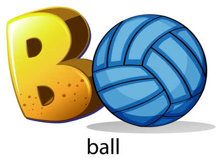 bounces: Illustration of a letter B for ball on a white background