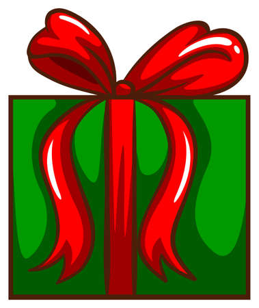 Illustration of a coloured sketch of a christmas gift on a white background Vector