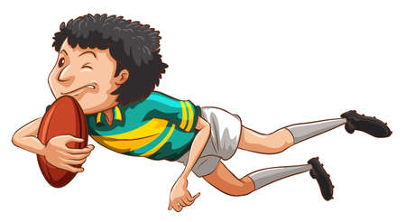 contingent: Illustration of a simple drawing of a boy playing rugby on a white background