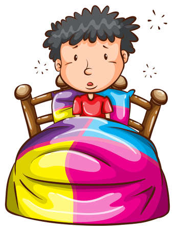 sleepy man: Illustration of a boy at the bed on a white background